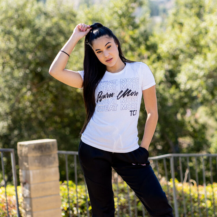 Sweat More Burn More womens fitted shirt